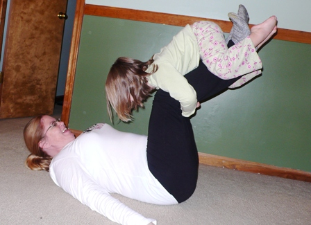 Leg lifts with kids