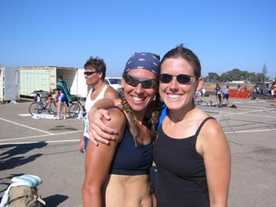 Michelle (left) and me at her first 1/2 Ironman in 2003