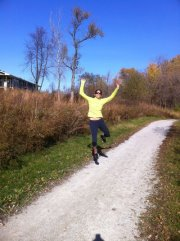 Goofing off during a run in Iowa